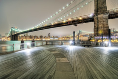 Fulton Ferry view (mudpig) Tags: nyc newyorkcity longexposure bridge newyork reflection skyline brooklyn night geotagged cityscape cityhall brooklynbridge manhattanbridge eastriver hdr fdr fultonferry mudpig fultonlanding stevekelley