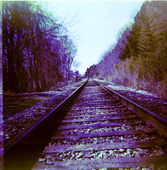Blue Sunshine (rfmueller) Tags: 120 film mediumformat square diy xpro crossprocessed durham toycamera tracks rr plastic analogue dianaf selfprocessed railroadtracks railbed