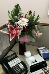 My Dad Is The BEST! <3 (lindsey.kaye) Tags: birthday pink flowers work office dad lily phone desk gift 25 surprise calculator rolodex february10 lindseykaye