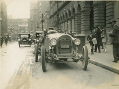 Dave Carrigan at wheel of a Willys Knight car, 1926