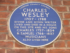 Photo of Charles Wesley, Charles Wesley, and Samuel Wesley blue plaque