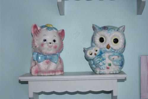 Vintage Cat & Owl Planters