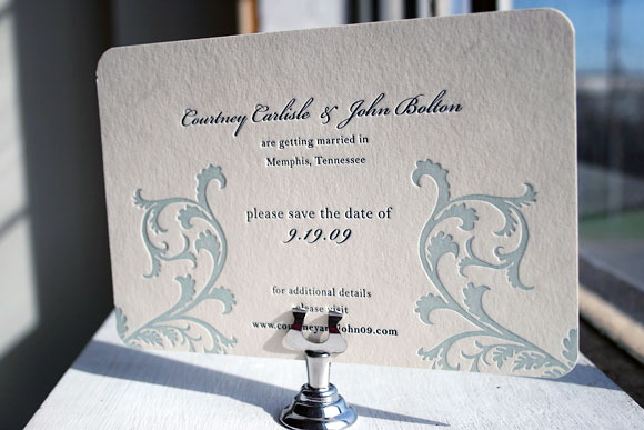 Vettore Letterpress Wedding Invitation