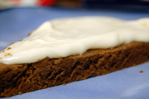 chocolate shortbread with cream cheese icing