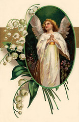 Easter angel surrounded by Lily of the Valley ...