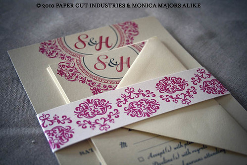 Past Tense: Ornate Wedding Invitation on Shimmer Paper Gold and Pink