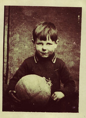 Image titled Garry with football, 1956.
