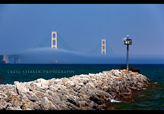 Foggy Perspective - Mackinac Bridge (Craig - S) Tags: travel vacation tourism michigan scenic mackinacisland mackinacbridge straitsofmackinac puremichigan