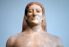 Anavysos Kouros, bust detail, c. 530 B.C.E.