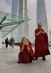 A Higher Power (johey24) Tags: fromthehip raw candid monks people street shanghai lujiazui tallbuildings centralshanghai shoottheshooter shooters photographers