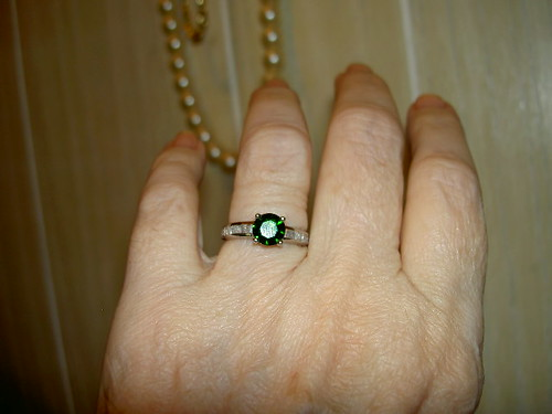 Chrome Diopside & Diamonds Ring