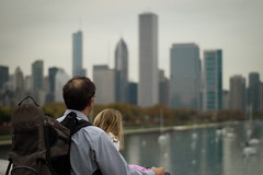 Father & Daughter () Tags: usa lake chicago fall architecture 50mm illinois nikon d100