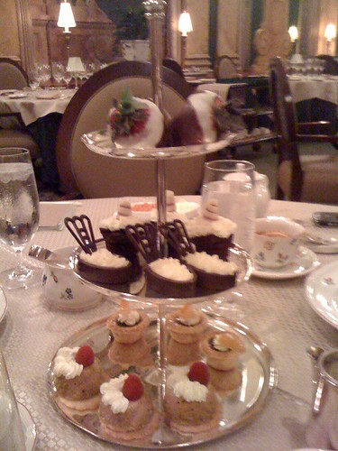 Dessert tray at afternoon tea at the Peabody Hotel