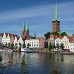 Lübeck: Altstadt from Trave Rivers