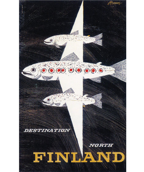 Finland vintage travel posters Fish creating the shape of a plane.