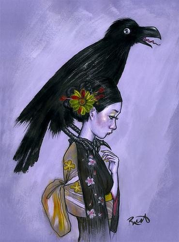 Crow-Kimono-Girl-Lilacredux by Jason Raish.