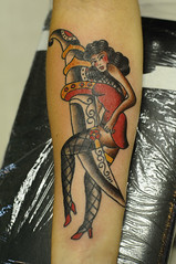 Dagger  Pinup Traditional Tattoo by KeelHauled Mike Black Anchor Tattoo Denton Maryland (KeelHauled Mike) Tags: black mike tattoo by dc washington metro traditional maryland baltimore area anchor dagger pinup denton keelhauled wwwkeelhauledmikecom wwwblackanchortattoocom