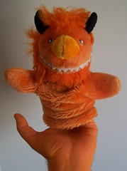 The puppeting begins... (helixdmonster) Tags: orange monster puppets cpm helix handpuppets creepyhands monsterhandpuppets helixdmonster