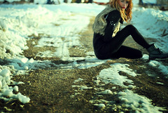 bitter.cold. (im_on_tambourine) Tags: snow fur sweater tights driveway crop lipstick vest turtleneck docs gravel docmartens furvest