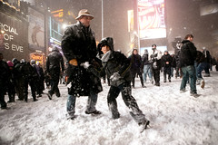 Snowstorm and snowball fight in Times Square, Manhattan, New York (larger size) by Dan Nguyen NY