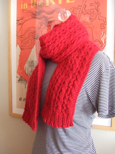 red merino scarf