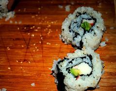 California Rolls (Lauren Clarice) Tags: california sushi rice board sesame crab seeds cutting nori avacodo