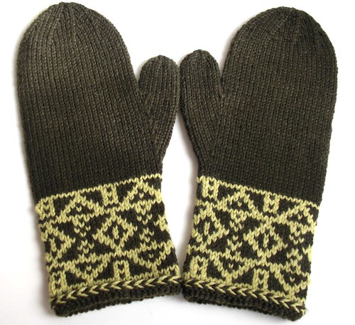 dark green mittens