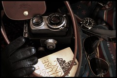Still Life (MXW) Tags: life camera nature colors sunglasses leather scarf bag one book switzerland soleil photo still king suisse swiss watch sac gloves morte future once lunettes luxury aviator faint rayban appareil montre charpe gant longchamps ciroflex genevalunch
