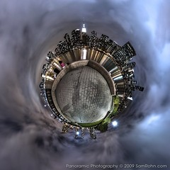 Planet New York :: Skyline (Sam Rohn - 360 Photography) Tags: nyc newyorkcity sky people panorama newyork skyline night clouds manhattan queens empirestatebuilding hdr stereographic planetoid locationscout ptgui littleplanet nodalninja samrohn smallplanet enfuse gantryplazapark promotecontrol