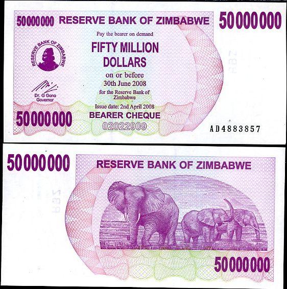 50 miliónov dolárov Zimbabwe 2008