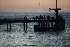 A little fishing at sunset (^Diana^) Tags: ocean blue sunset sea water pier jetty melbourne victoria greatoceanroad portcampbell