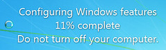 Configure Windows features, do not turn off your computer.