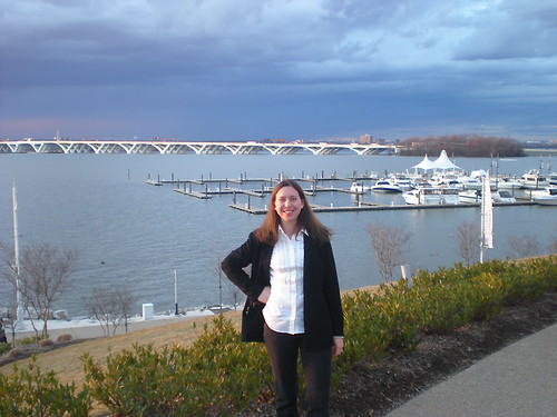 Clare with Woodrow Wilson Bridge in Background