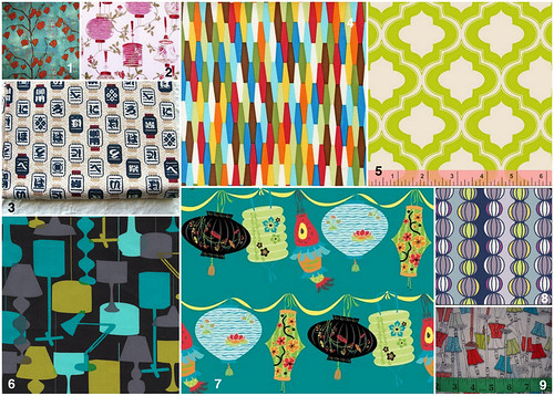 Lamps and lanterns fabrics photo collage