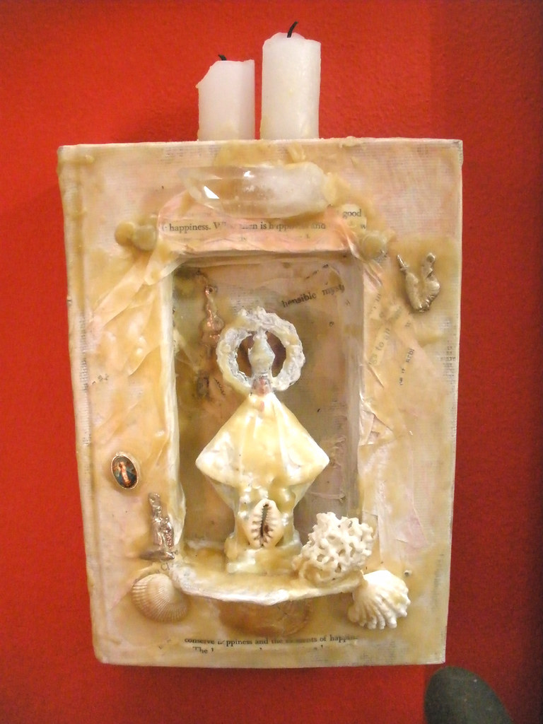 mixed media altered book shrine by artist Bronwyn Simons