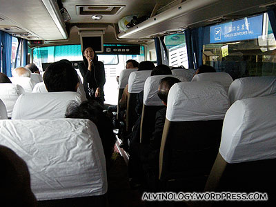 On board our bus with our tour guide