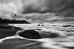 Storm Watch - Pigeon Point Lighthouse, San Mateo County, California (Jim Patterson Photography) Tags: ocean california statepark travel sunset sea sky blackandwhite usa lighthouse seascape storm motion nature water monochrome clouds landscape coast sand marine rocks waves natural pacific tripod salt shoreline scenic rocky wideangle stormy coastal shore lee coastline ripples sanmateo pigeonpoint reallyrightstuff sanmateocounty remoterelease nikkor1224mm graduatedneutraldensityfilter nikond300 markinsm20ballhead jimpattersonphotography jimpattersonphotographycom seatosummitworkshops seatosummitworkshopscom