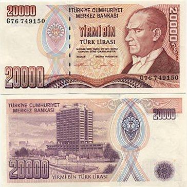Turecko - Turkey 20000 Lira L.1970 (1995) Pick 202