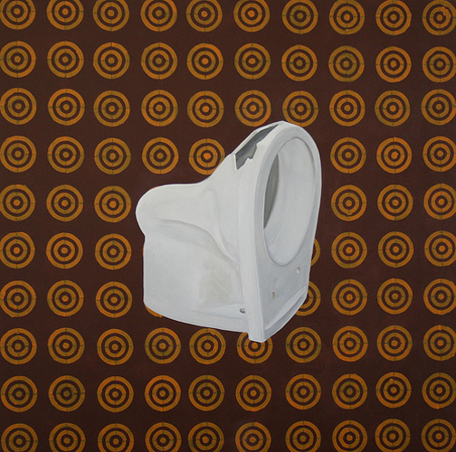 Toilet on Brown Pattern, Acrylic & Oil on Canvas, 31cm x 31cm by Robin Clare