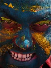 HOLI AVATAR (Sukanto Debnath) Tags: blue red portrait india colors face yellow festival eyes colorful teeth avatar hyderabad holi vivek debnath sukanto sukantodebnath