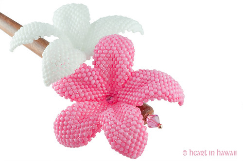 plumeria hair stick - carnation pink and white