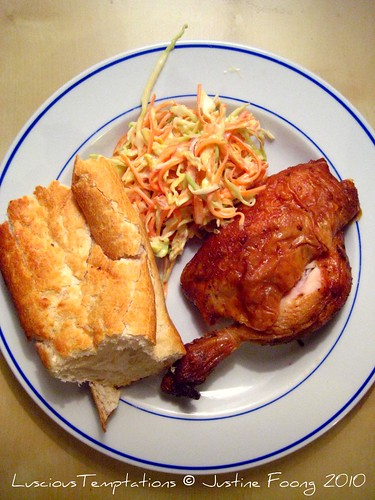 Cold Roast Chicken, Coleslaw and Warm Bread - Weekday Dinner