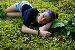 Day 234 (peyton weikert) Tags: blue portrait plants green girl leaves shirt self outside spring day purple earth 365 bandana 234 jeanshorts