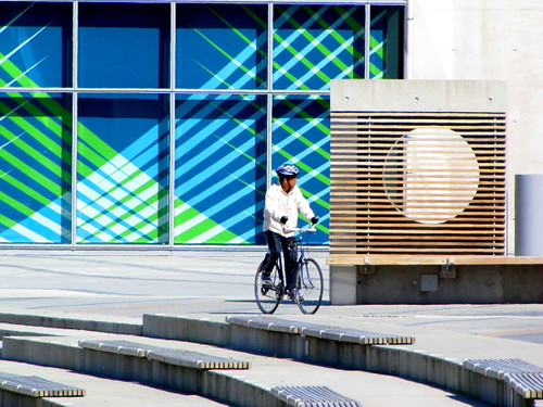 Cyclist at the Richmond Olympic Oval Spirit Square
