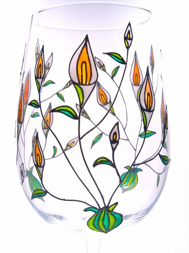 Hand Painted Wine Glasses-Calla Lilies