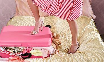 suitcase travel girl