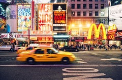 Only On (Philipp Klinger Photography) Tags: ocean show street new york city nyc newyorkcity light red people orange usa chicago cinema ny newyork motion west color colour cars car yellow architecture america ads movie square concrete