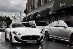 Stradale. (Alex Penfold) Tags: auto camera white black london cars alex sports wet water car rain sport mobile canon reflections photography eos photo cool flickr moody image c awesome flash picture atmosphere super spot harrods m mc exotic photograph gran spotted hyper gt turismo supercar maserati spotting numberplate exotica sportscar stradale sportscars supercars maser penfold spotter 2011 eom hypercar 60d hypercars lj11 mcstradale alexpenfold lj11eom