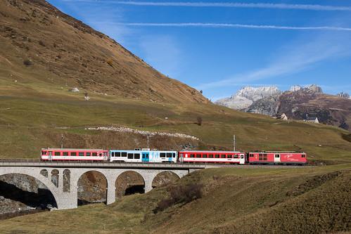 Hospental   CH-UR (Uri)   28.10.2016   MGB train R 549 with Deh 4/4 92