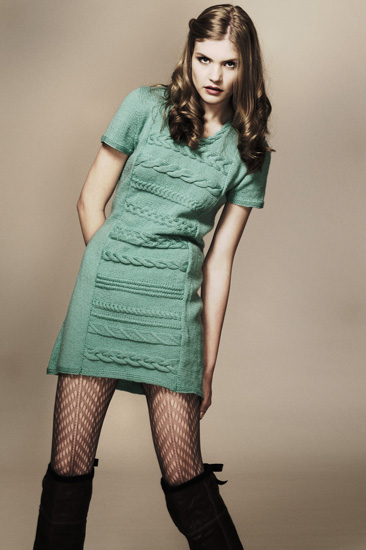 Studio Fashion Knitwear Look Book, Green Hand Knitted Dress